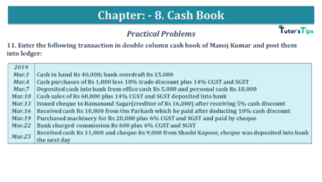 Q 11 CH 8 USHA 1 Book 2020 Solution min 360x203 - Chapter No. 8 - Cash Book - USHA Publication Class +1 - Solution