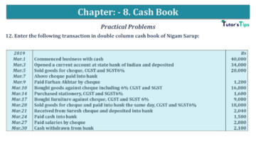 Q 12 CH 8 USHA 1 Book 2020 Solution min 360x203 - Chapter No. 8 - Cash Book - USHA Publication Class +1 - Solution