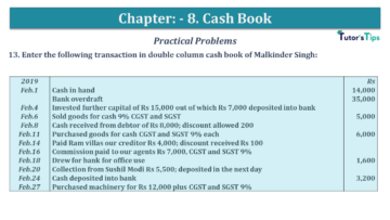 Q 13 CH 8 USHA 1 Book 2020 Solution min 360x203 - Chapter No. 8 - Cash Book - USHA Publication Class +1 - Solution