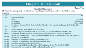 Q 14 CH 8 USHA 1 Book 2020 Solution min 360x203 - Chapter No. 8 - Cash Book - USHA Publication Class +1 - Solution
