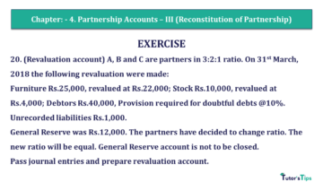 Q 20 CH 4 Usha 2 Book 2018 Solution min 360x203 - Chapter No. 4 - Partnership Accounts - III (Reconstitution of Partnership)- USHA Publication Class +2 - Solution