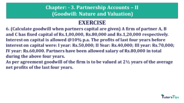 Q 6 CH 3 Usha 2 Book 2018 Solution min 360x203 - Chapter No. 3 - Partnership Accounts - II (Goodwill: Nature and Valuation)- USHA Publication Class +2 - Solution