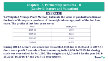 Q 9 CH 3 Usha 2 Book 2018 Solution min 360x203 - Chapter No. 3 - Partnership Accounts - II (Goodwill: Nature and Valuation)- USHA Publication Class +2 - Solution