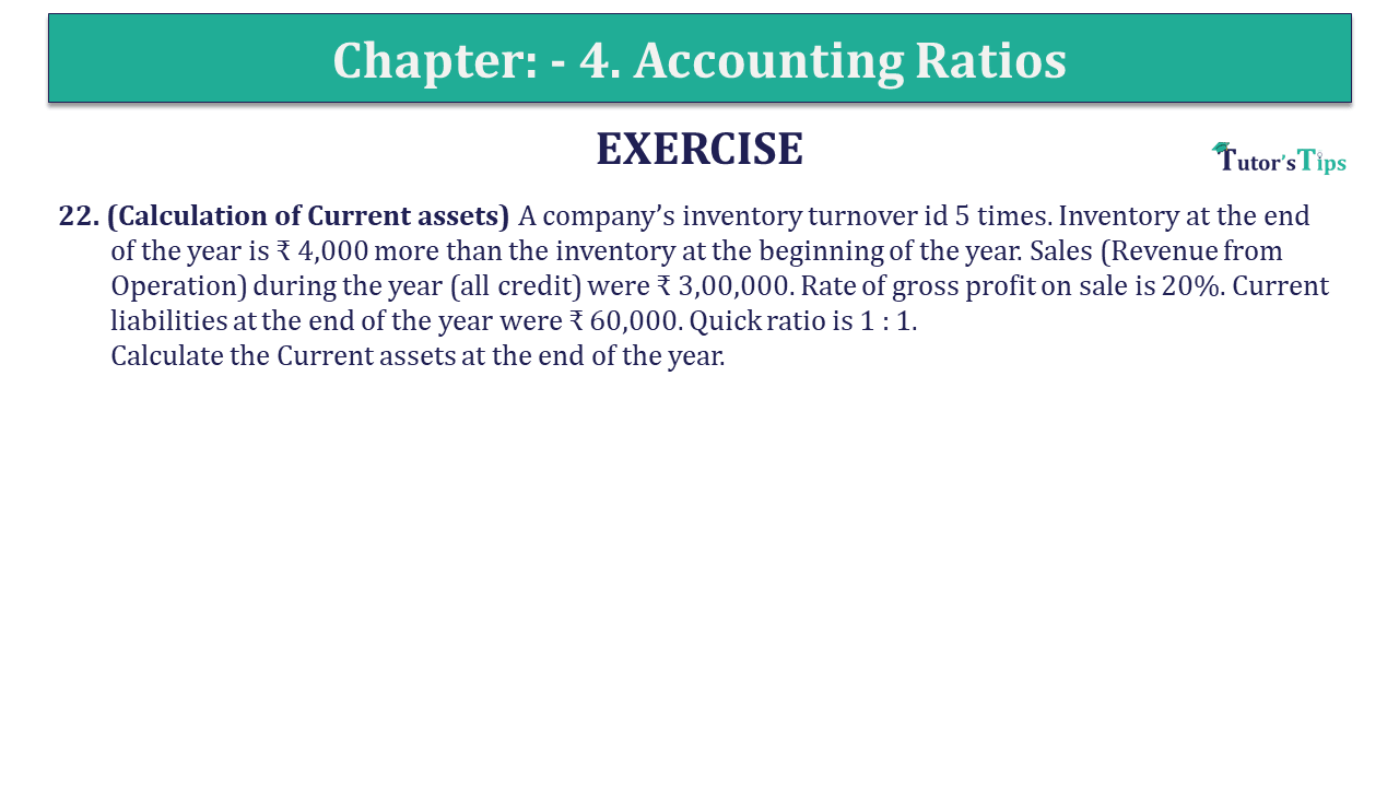 Question 22 Chapter 4 of +2-B