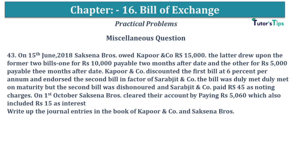 Question No 43 Chapter No 15