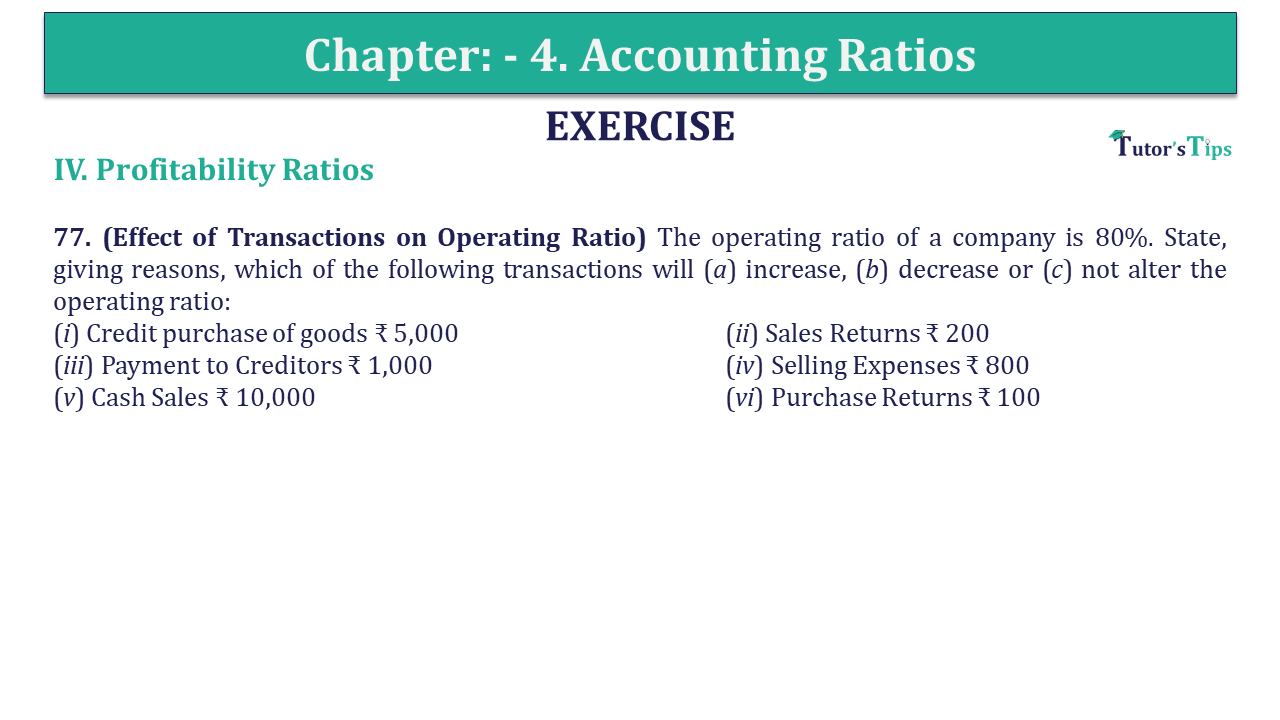 Question 77 Chapter 4 of +2-B