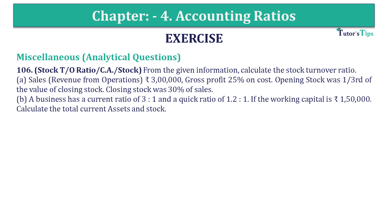 Question 106 Chapter 4 of +2-B