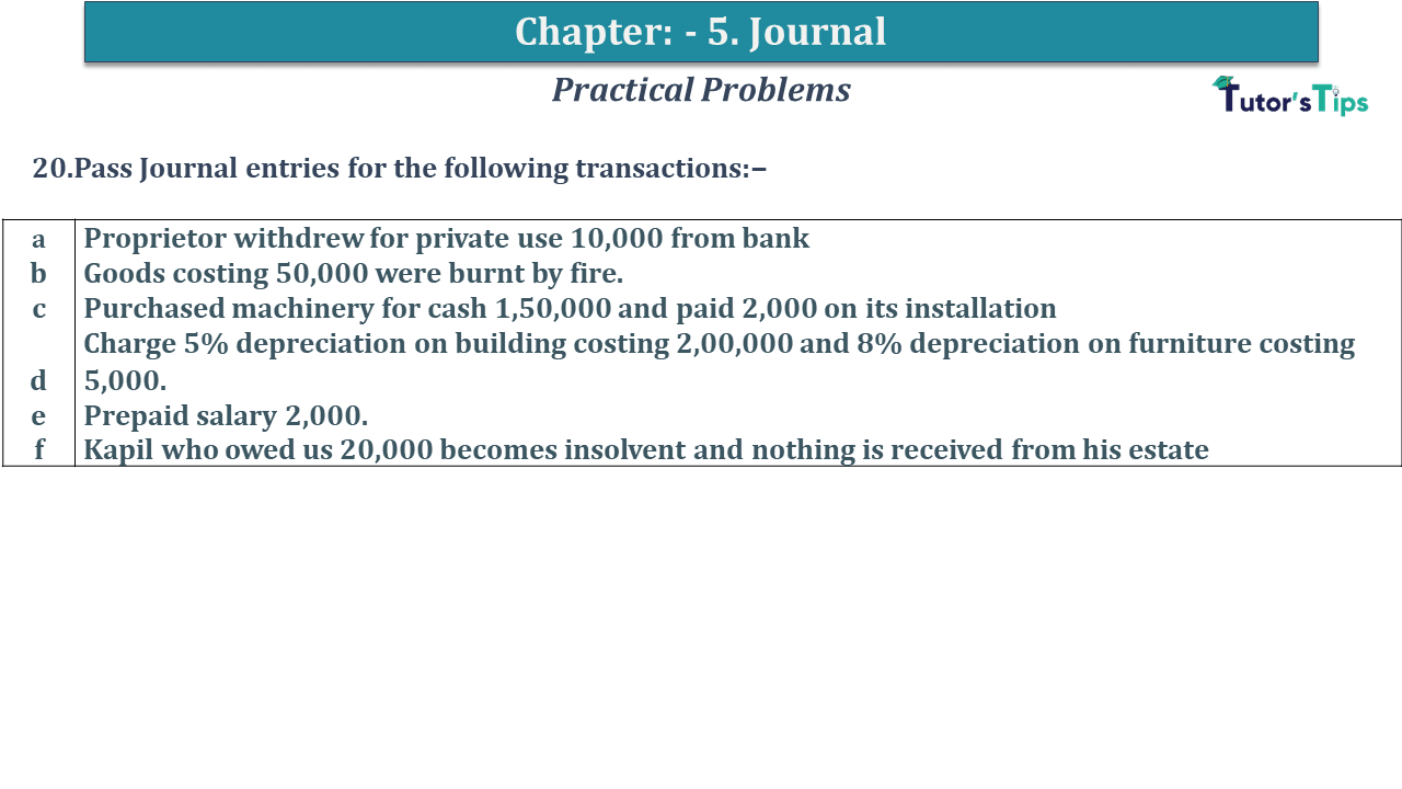 Question No 20 Chapter No 5